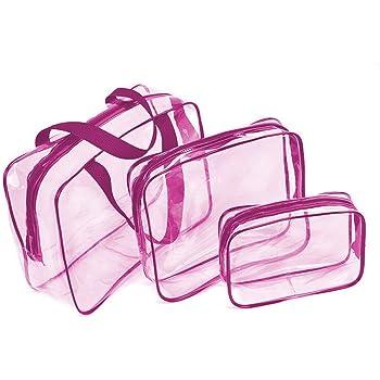 Noir Set de Voyage dans Bagages /à Main Trousse de Toilette Transparente Sac Cosm/étiques pour Hommes et Femmes 3 en 1 Cadeaux Sacs de maquillage et /étuis Sac en plastique Sac de voyage en PVC