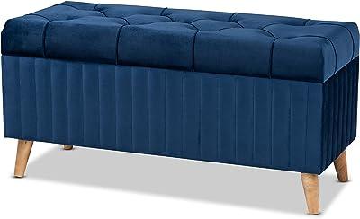 Baxton Studio 188-11567-AMZ Ottomans, Navy Blue/Walnut Brown