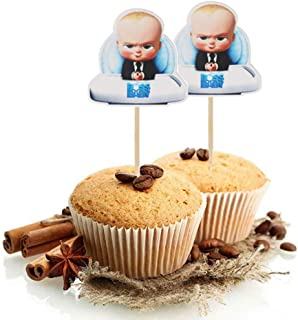 24 Serves Baby Boss Cupcake Toppers Birthday Cake Decorations for Baby Boss Themed Birthday Party Decorations Baby Shower ...