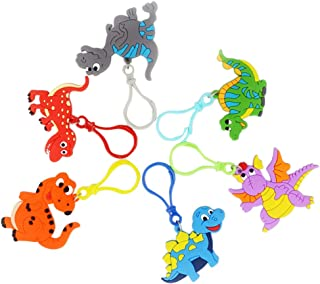 Amosfun 6 PZ Dinosauro Portachiavi Portachiavi Bomboniere Festa di Compleanno Regalo Appeso Ornamento per Bambini Bambini