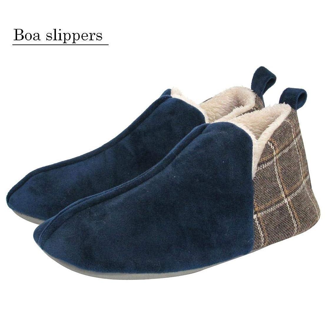 確認画家無人Boa slippers(ボアスリッパ) かかと切替ブーツ Lサイズ(25~27cm) ネイビー 72187