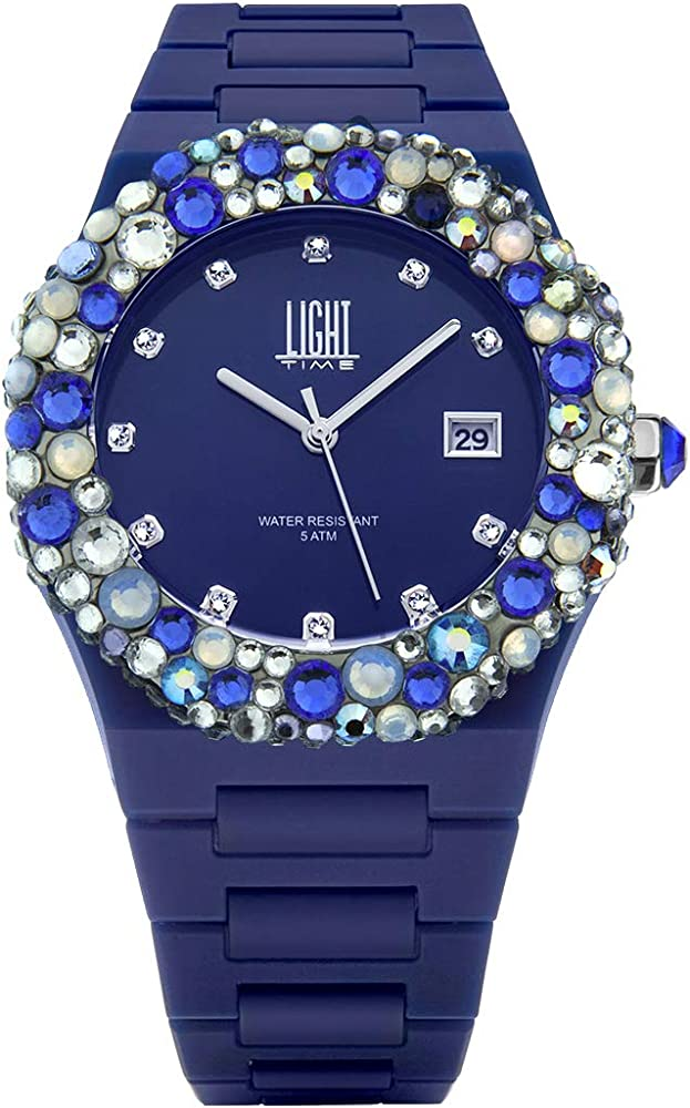 Light time mediterraneo, orologio per donna, in policarbonato, con ghiera impreziosita da 200 pietre preciosa L509BL3