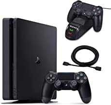 NexiGo 2020 Newest Playstation 4 PS4 Slim Console Holiday Bundle 1TB HDD PS4 Controller Charging Station 4K HDMI Cable Bun...