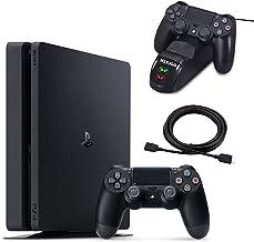 NexiGo 2020 más nuevo Playstation 4 PS4 consola delgada Holiday Bundle 1 TB HDD PS4 controlador estación de carga 4 K HDMI paquete de cable 5 pies