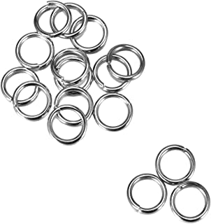 HOUSWEETY 200PCs Silver Tone Stainless Steel Open Jump Rings 10mmx1.4mm