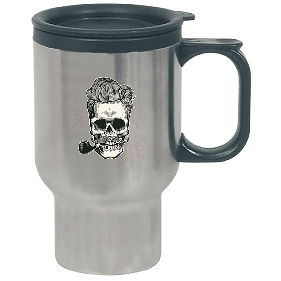 Skull Swag Theme Design Holding Pipe - Travel Mug