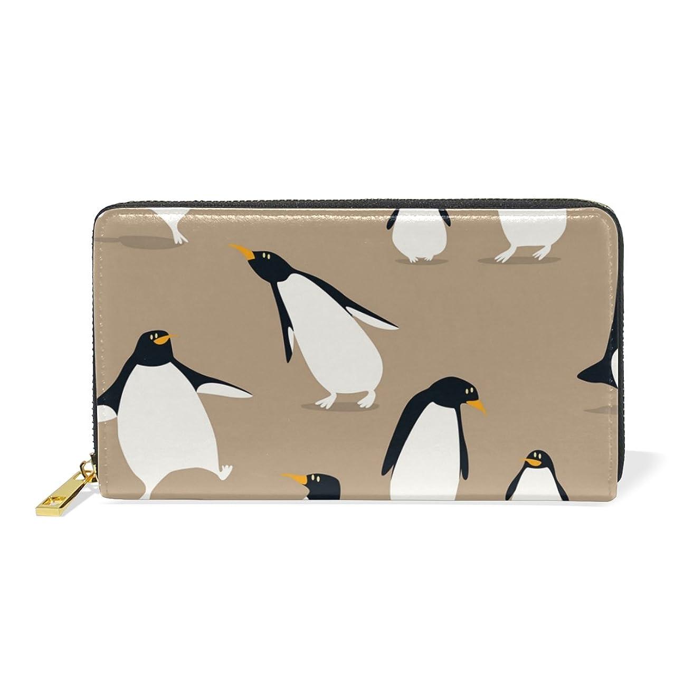 バースト小売独立ALAZA 財布 ペンギン柄 動物柄 本革 大容量 18枚 多機能 ラウンドファスナー 小銭入れ付 レディース 二つ折り