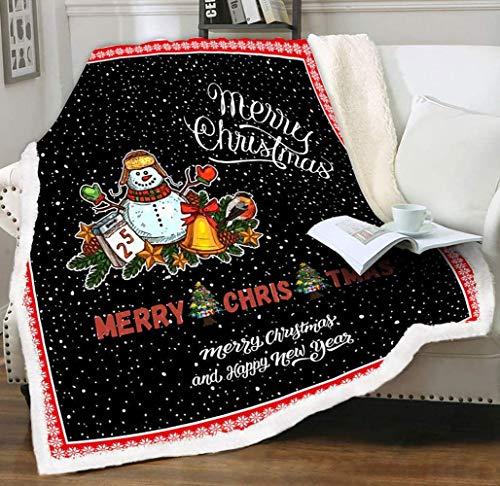 KINGAM Mantas y mantas navideñas, linda manta de muñeco de nieve de felpa reversible para decoración de vacaciones, manta de terciopelo sherpa para sofá, sillón de sofá o RV seccional