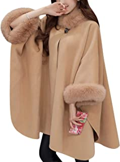 Womens Winter Fashion Fur Collar Wool Blend Shawl Wrap Poncho Cape Coat