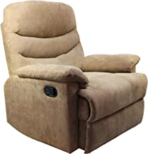 Windaze Recliner Chair, Massage Lounge Manual Sofa Chair Microfiber Ergonomic for Living Room Beige