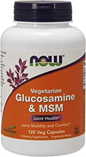 NOW Supplements, Glucosamine & MSM (Not Shellfish Derived), Vegetarian , 120 Veg Capsules