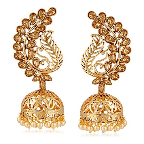 MEENAZ Gold Plated and Brass Kundan Jhumka Earrings for Women