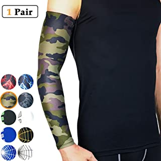beister 1 Pair Athletic Sports Compression Arm Elbow Sleeves for Women Men, Sun UV Protection Cooling Arm Cover for Basketball, Running, Cycling, Outdoors, Tattoo Cover