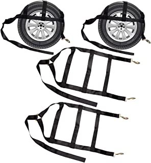 Pindex 2 Pack Tow Dolly Strap Heavy Duty Wheel Net Tire Basket Strap with Flat Hooks for 17