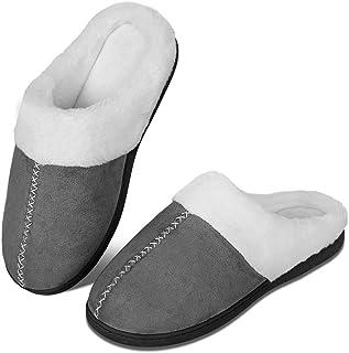 Chaussons d'hiver pour homme et femme en mousse à mémoire de forme - Confortables - En peluche - Antidérapants - Pour l'in...