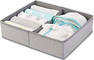mDesign Soft Fabric Dresser Drawer and Closet Storage Organizer Bin for Child/Kids Room, Nursery, Playroom - Divided 2 Section Tray - Herringbone Print - Gray