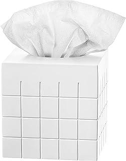 Creative Scents White Tissue Box Cover Square – Decorative Bathroom Tissue Holder, Modern Napkins Container, for Cute Eleg...
