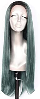 L Lace Part Handmade Black Ombre Grey Heat Resistant Hair Salon Party Women Daily,Green,22inches