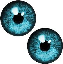 (J) ブルーアイズカボーションガラスパーツ (サイズ)20mm 2個セット 両目 ドールアイ 人形の目 ぬいぐるみ フィギア 眼球 ドーム型 丸型 目玉 アクセサリーパーツ ハンドメイド DIY 人気