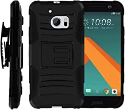 TurtleArmor   Compatible with HTC 10 Case   One M10 Case   HTC 10 Lifestyle [Hyper Shock] Rugged Combo Holster Belt Clip Hybrid Camo Case Silicone with Kickstand - Black