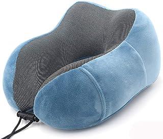 コンパクト 折りたたみ プレゼント 携帯枕 自分用 U型枕 低反発 デザイン 長距離 飛行機 便利 車 安い 優しい 使い (ブルー)