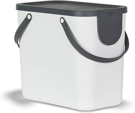 Rotho Albula Mülltrennungssystem 25l für die Küche, Kunststoff (PP) BPA-frei, weiss/anthrazit, 25l (40,0 x 23,5 x 34,0 cm)