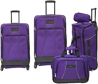 حقيبة سفر قماش بعجلات من سكاي واي، مجموعة من 5 قطع بلون ارجواني لها 4 عجلات 431-5P-517-SET