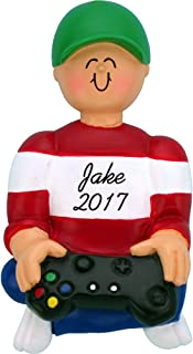 Calliope Designs Playing Video Games Personalized Christmas Ornament - Male - Handpainted Resin - 3