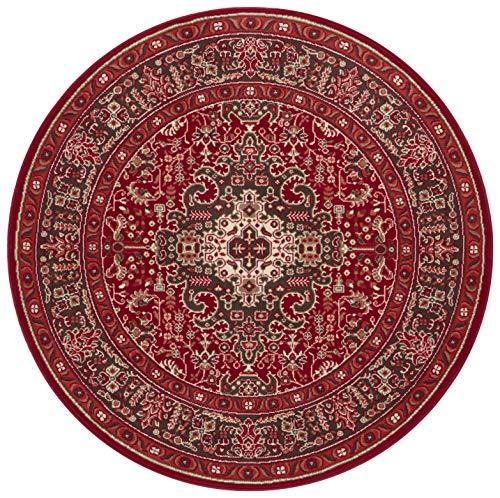 Nouristan Orientalischer Rundteppich Kurzflor Teppich Skazar Isfahan Orientrot, ø 160 cm