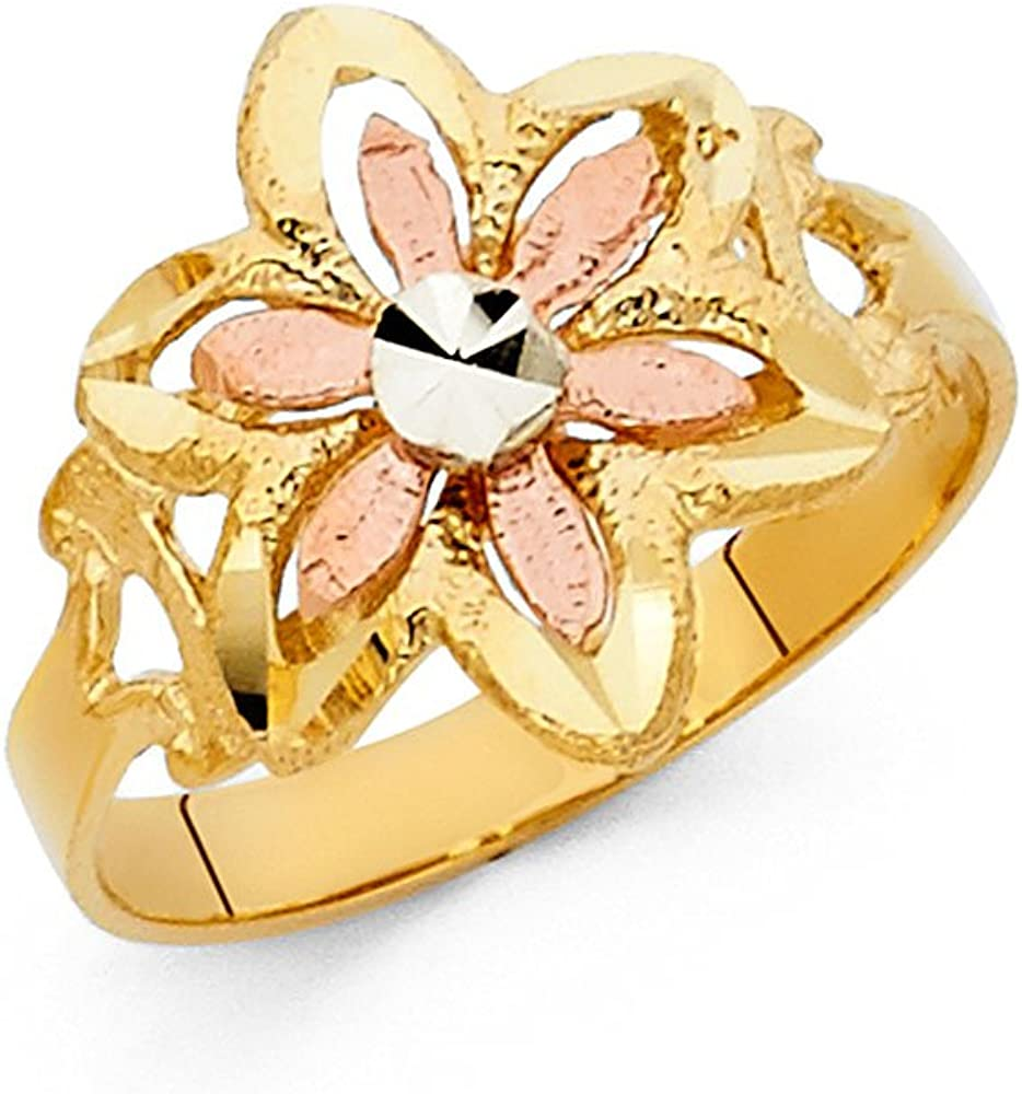 Sonia Jewels 14k Yellow White and Rose Three Color Gold Fashion Anniversary Flower Ring