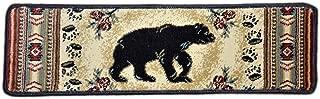 Dean Premium Carpet Stair Tread Rugs - Black and Red Bear Cabin Lodge 31