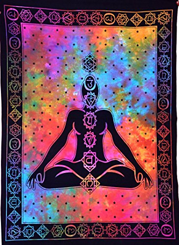 ANJANIYA Seven Chakra Yoga Meditation Studio Room Decorations Tie Dye Hippie Psychedelic Tapestry Poster 7 chakras tapestries Meditating Peace Wall Art Hanging Decor (Multi, 30'X40')