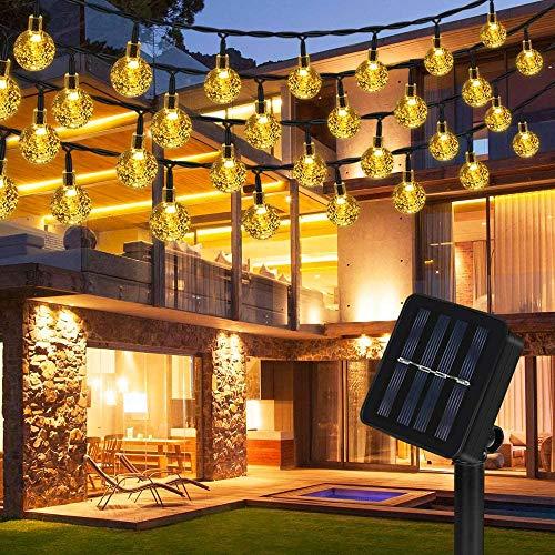 LED Solar Lichterkette, Vivibel 40 LED Solar Lichterkette Aussen, 8 Modi IP65 Wasserdicht Warmweiß Lichterkette Kristall Kugeln mit Lichtsensor für Garten, Balkon, Hof, Hochzeit, Party Dekoration