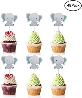 02968f0eafbdd Finduat  48 Pack  Cute Baby Elephant Cupcake Toppers Birthday Party or Baby  Shower Food