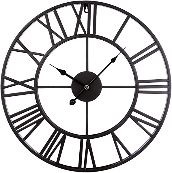 Fcoson Vintage Metal Clock Hollowed Out Roman Numeral Silent Clock 20 Inch Large Round Decorative Clock For Living Room Bedroom Kitchen Black