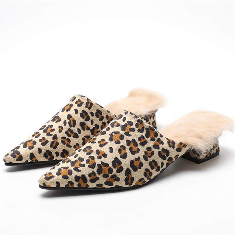 CYBLING Women's Leopard Slip-on Loafer Slides Soft Velvet Backless Fur Mules shoes