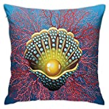 Throw Pillow Case Cushion Cover,Giant Majestic Unique Pearl Mussel and Ivy Coral Deep Down In The Sea Art Print ,18x18 Inches