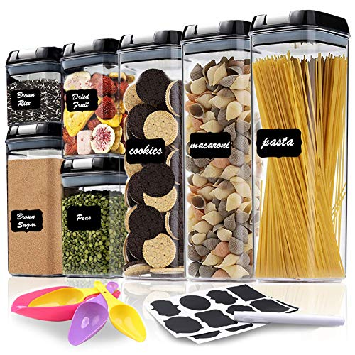 Airtight Food Storage Containers 7 Piece - Plastic PBA Free Kitchen & Pantry Organization Containers for Sugar, Flour and Baking Supplies - Include Labels, Chalk Marker & Spoon