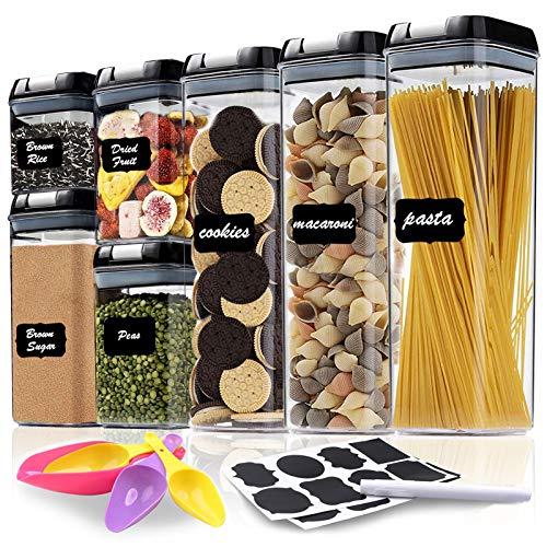 Recipientes herméticos de almacenamiento de alimentos, 7 piezas, plástico sin PBA para organizar la cocina y la despensa, contenedores para azúcar, harina y suministros de...