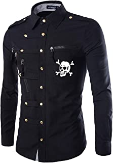 Loveinus Men's Fashion Stylish Gothic Double Breasted Slim Fit Button Down Denim Shirts Long-Sleeve