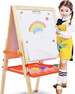 Arkmiido 3 in 1 Wooden Kids Easel Double-Sided Magnetic Drawing Board White & Chalkboard Dry Easel with Drawing Axis, Paper Roll, Bonus Magnetics, Numbers, Paint Cups for Writing Kids