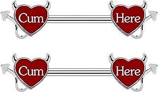 CHARM ONLINE Cum Here Nipple Ring 14G 316LSurgical Steel Nipple Barbell Heart Shape Devil Body Piercing Jewelry for Women Men