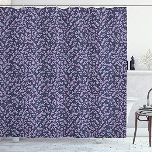 ABAKUHAUS bladeren Douchegordijn, Gebladerte Silhouettes Corsage, stoffen badkamerdecoratieset met haakjes, 175 x 240 cm, Lavender Blue Gray