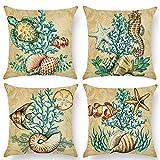 "ULOVE LOVE YOURSELF Ocean Theme Coastal Pillowcases Sea Turtle-Sea Horse-Seashell-Octopus-Fish-Starfish-Coral Beach Decorative Cushion Cover 18""×18"",4Pack (Sea)"