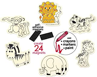 Magnet Kits for Kids Craft Kits for Kids Unfinished Wood Crafts to Paint or Color Magnet Crafts for Kids Safari Animal Crafts for Kids Jungle Crafts for Kids Animal Crafts for Kids DIY Magnets - 24 Pk