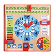 Pidoko Kids Montessori Toys for Toddlers 3 Years - 4 Year Old Learning Materials for Preschool - All About Today Board - Wooden Calendar and Learning Clock - Educational Gifts for Boys and Girls