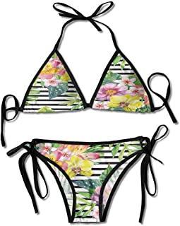 Swimsuit for Toddler Girl Lily Dahlia Palm Begonia Leaves Printing Bikini