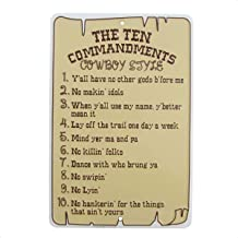 The Ten Commandments Cowboy Style Metal Sign Funny Christian Home Wall Decor