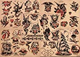 Sailor Jerry Traditional Vintage Style Tattoo Flash 5 Sheets 11x14 Old School Great For Tattoo Shop Display, Sign, Artwork, Pinup Girl Set 6