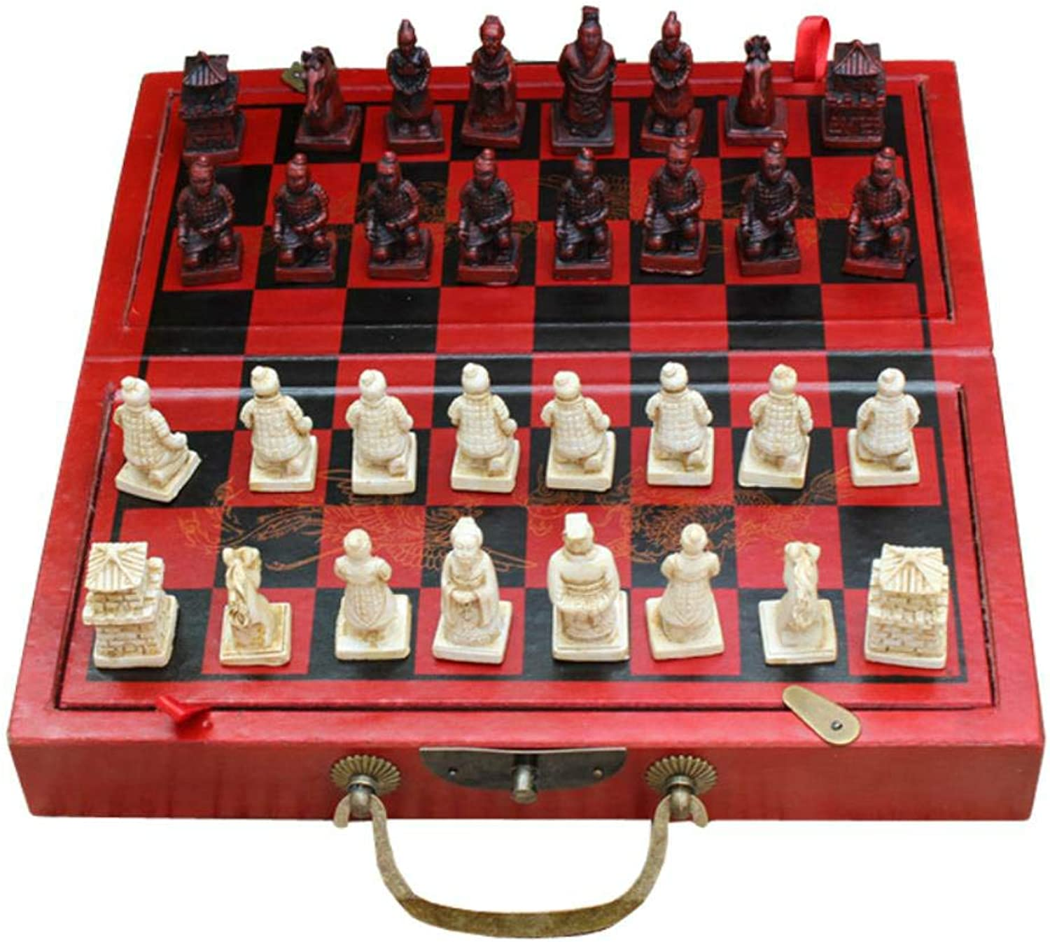 Qupanpan Wooden chess game folding chessboard terracotta warriorsA2929cm